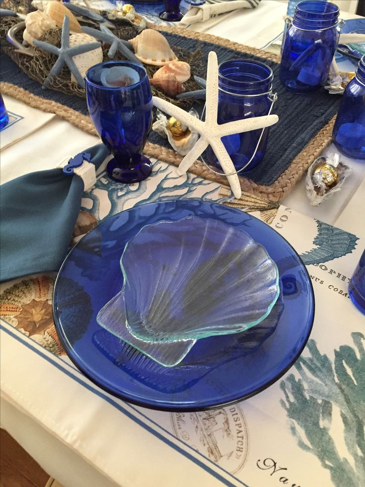 #beach themed party #place setting