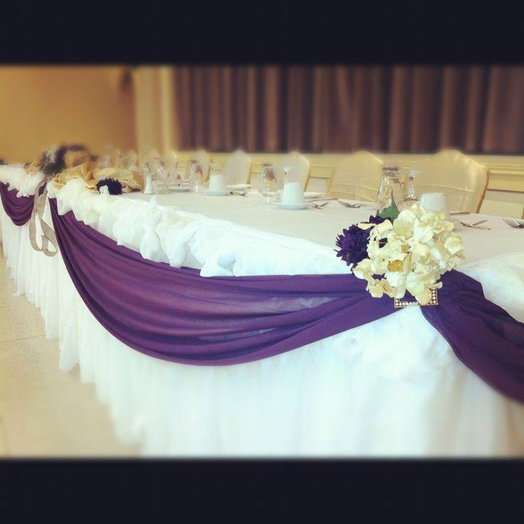 eggplant wedding center pieces | Elegant eggplant head table wedding decorations | Brit wedding