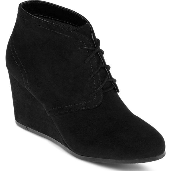 Arizona Lacie Wedge Ankle Booties ($13) ❤ liked on Polyvore featuring shoes, boots, ankle booties, wedges, laced up wedge booties, lace up high heel boots, lace-up booties, wedge booties and lace up boots