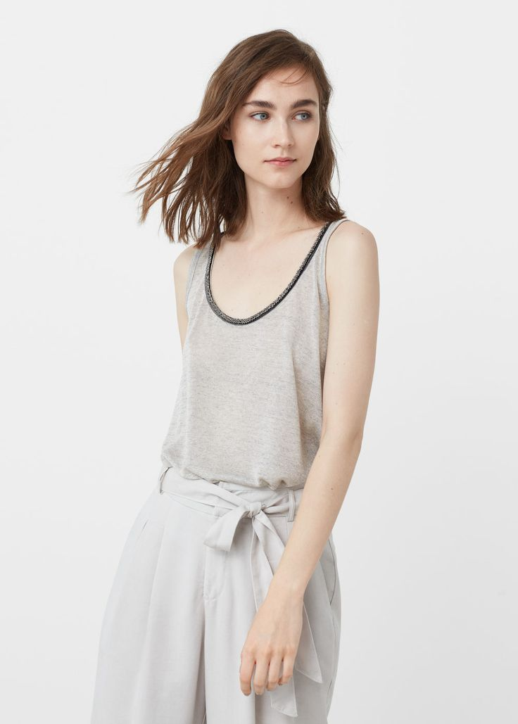 Beaded top - T-shirts for Woman   MANGO United Kingdom