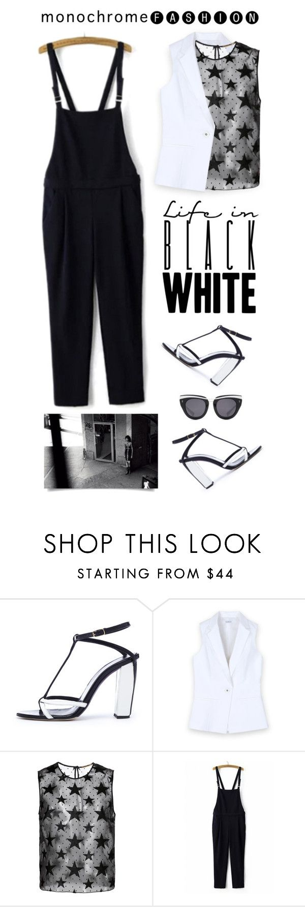 """Make It Monochrome"" by shortyluv718 ❤ liked on Polyvore featuring Oscar de la Renta, Bebe, Yves Saint Laurent, WithChic, HOOK LDN, blackandwhite, overalls, contestentry and monocrhome"