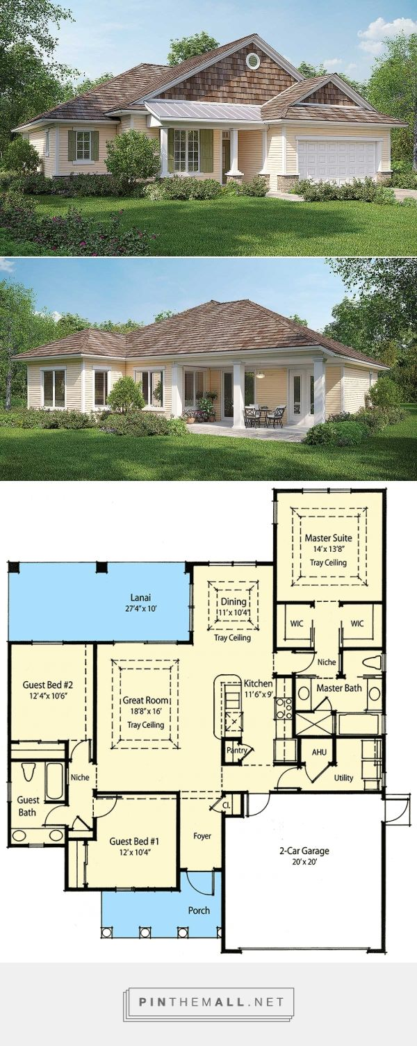 Architectural Designs   No basement option. Small DR, weird rooflines.