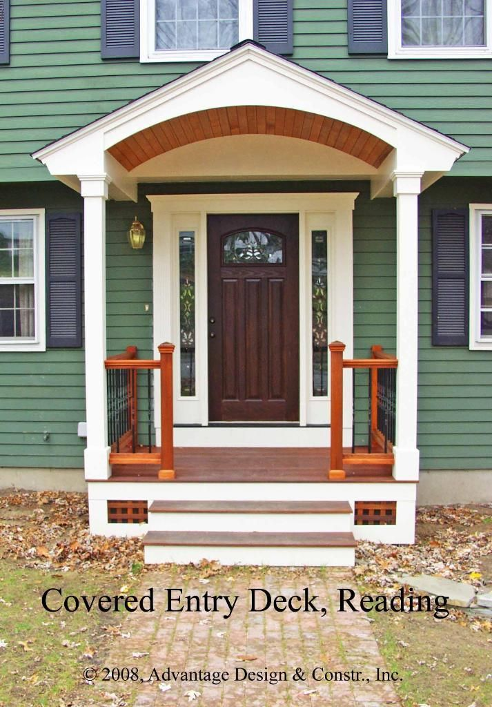 25 best ideas about small front porches on pinterest for Front door roof designs