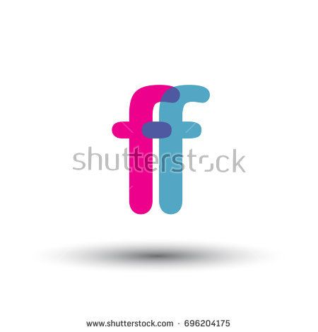 initial logo FF lowercase letter, blue and pink overlap transparent logo, modern and simple logo design.