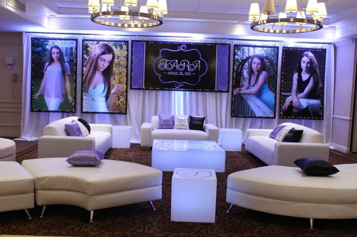 Sweet 16 Lounge Custom Lounge with LED Curtain Backdrop & Blowup Photos, LED Furniture with Custom Decals & Logo Pillows for Sweet Sixteen at The Mahwah Sheraton