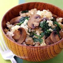 caramelized onion, mushroom & bulgur pilaf