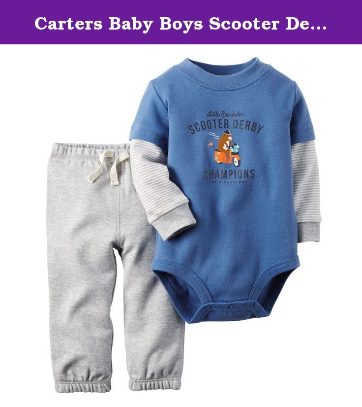 Carters Baby Boys Scooter Derby Bodysuit Set (24M). Carter's offers cute and comfortable clothing with soft, durable fabrics! This set includes a bodysuit featuring layered-looks style sleeves, a Little Speedster Scooter Derby Champions design, and a coordinating pair of pull on pants. 100% Cotton.