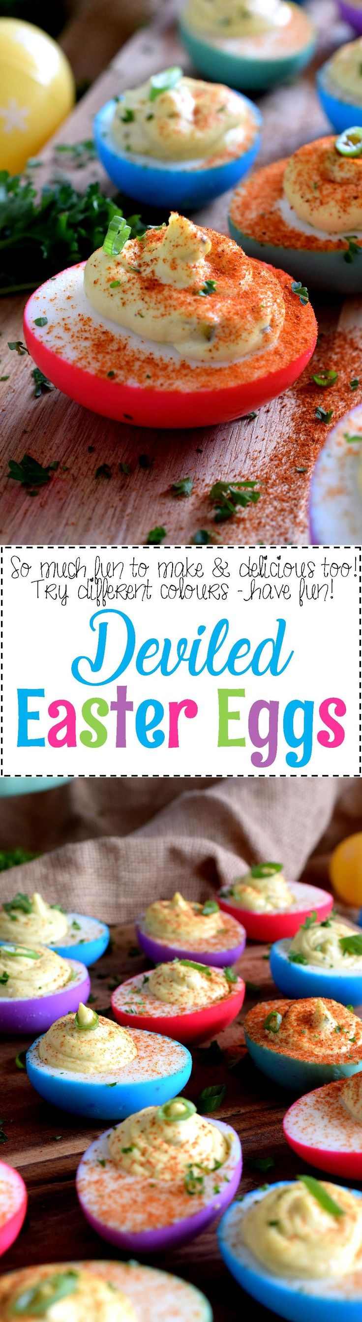 Deviled Easter Eggs - aster isn't Easter without boiled eggs, so why not have some fun and make a batch of very Easter-y and very colourful Deviled Easter Eggs!?