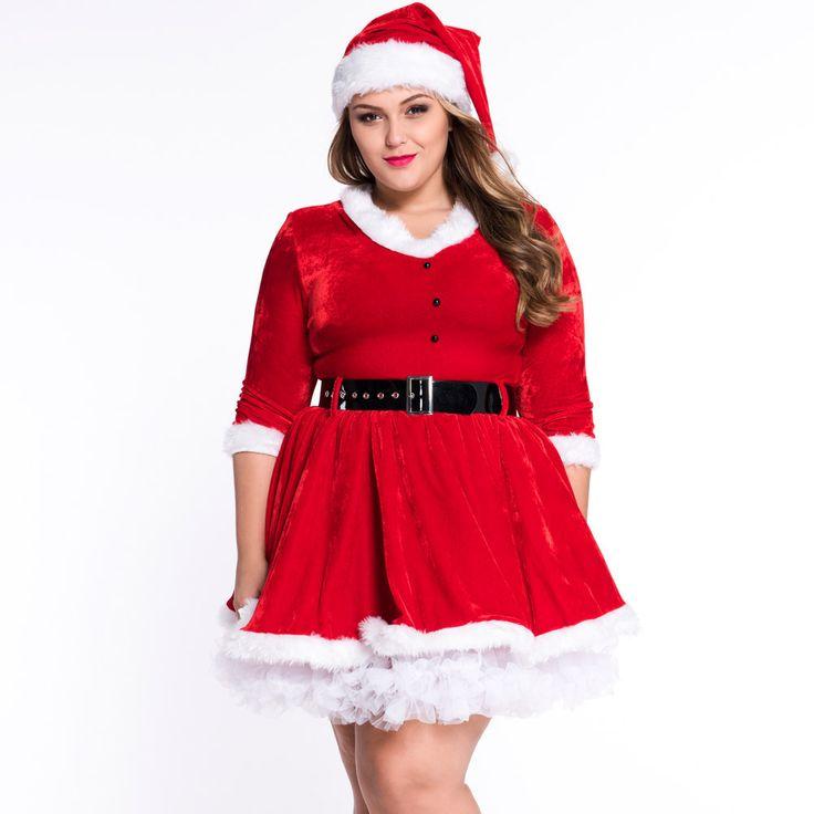 #D7284 Faux Fur Trim Velvet Bustier Sweet Plus Size Santa Costume