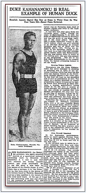 "Article about Hawaiian surfer Duke Kahanamoku, published in the Oregonian newspaper (Portland, Oregon), 24 September 1917. Read more on the GenealogyBank blog: ""Google Remembers Olympian & Surfer Duke Kahanamoku."" http://blog.genealogybank.com/google-remembers-olympian-surfer-duke-kahanamoku.html"