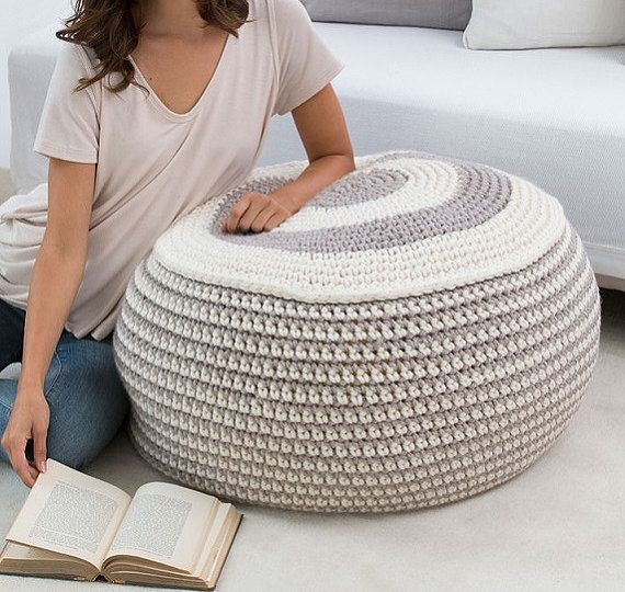 Large Pouf Ottoman Enchanting 44 Best Crochet Pouf Ottoman Images On Pinterest  Floor Cushions Inspiration Design