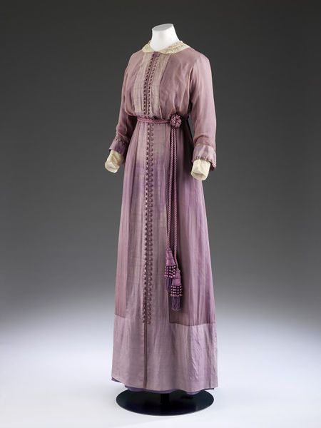 1912, England - Dress by Mascotte - Silk chiffon over silk, grosgrain, lace, boned, embroidered