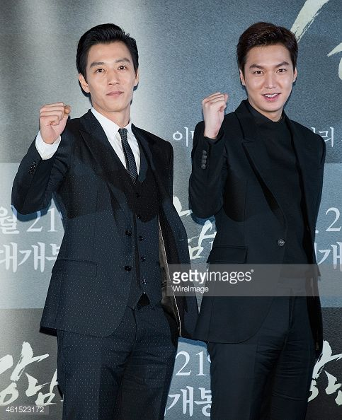 South Korean actors Kim Rae-Won and Lee Min-Ho attend the press screening for 'Gangnam Blues' at CGV on January 13, 2015 in Seoul, South Korea. The film will open on January 21, in South Korea.