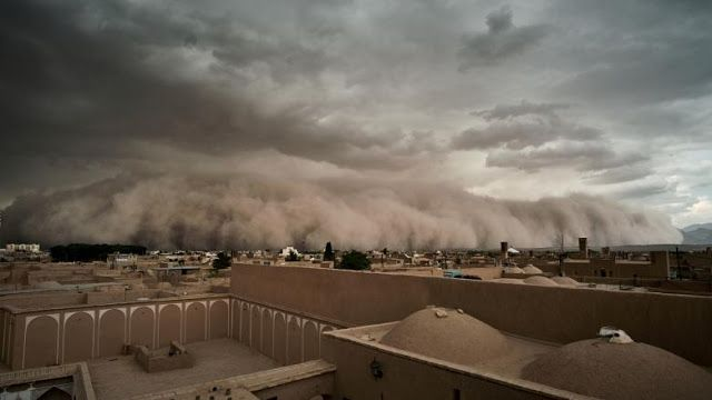 A Sandstorm Approaches In Yazd Iran Strange Weather Nature
