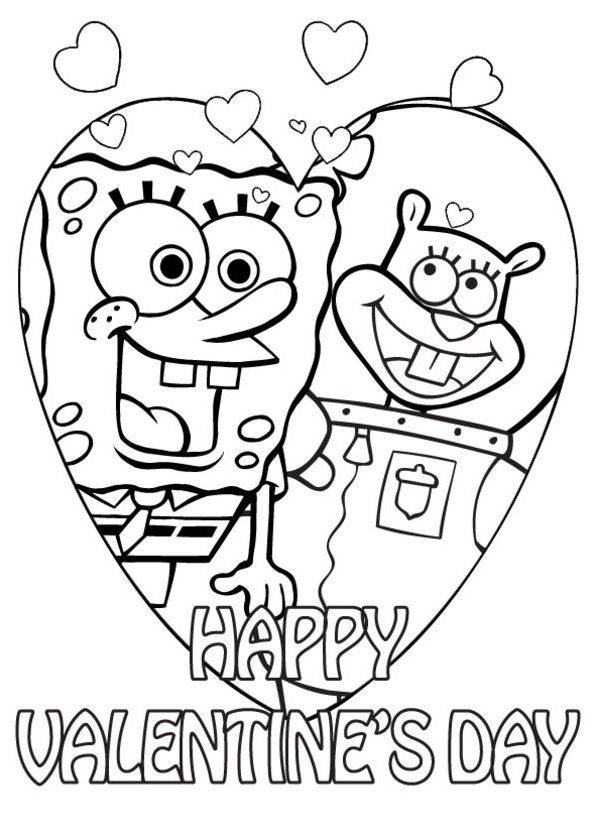 Happy valentines spongebob and sandy spongebob and sandycoloring pages