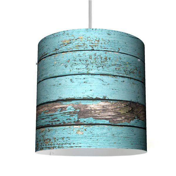 Nähkästchen Holz Bauanleitung ~ Hängelampen  Deckenleuchte 26cm mit Motiv Blaue Holzlatten  ein