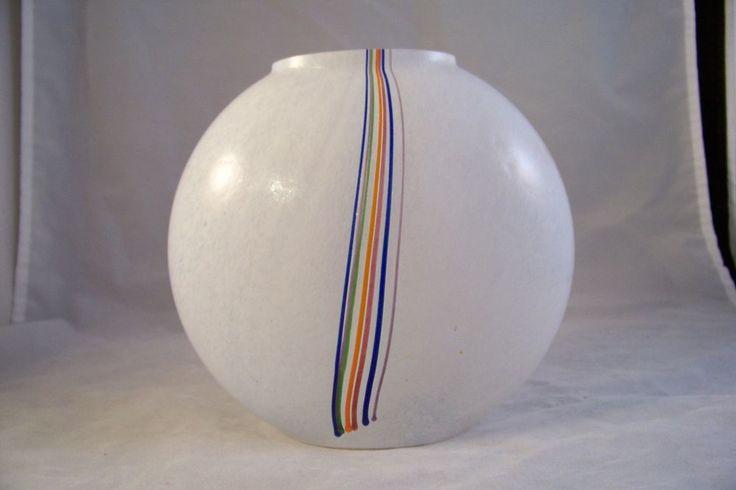 Kosta Boda Bertil Vallien Signed Sweden Art Glass Rainbow Vase 40