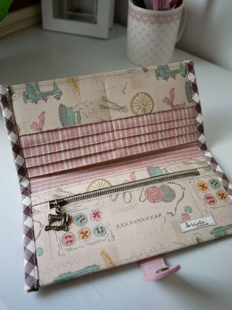 "handmade by artchala. === D i m e n s i o n s === approx. : 8"" x 4"" folded Total of 11 pockets + 8 cards slots + 2 cash/bills spaces + 1 zip..."