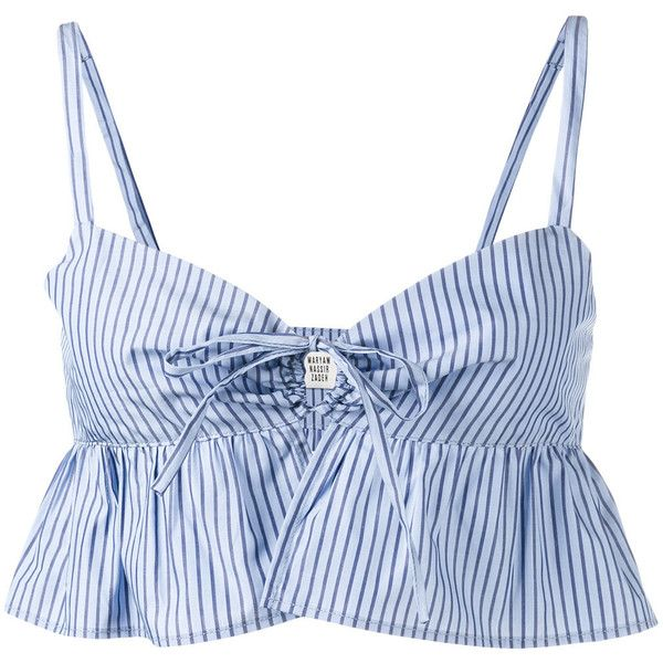 Maryam Nassir Zadeh - Playa stripe ruffle crop top - women - Cotton -... ($470) ❤ liked on Polyvore featuring tops, blue, maryam nassir zadeh, blue ruffle top, stripe crop top, crop top and striped top