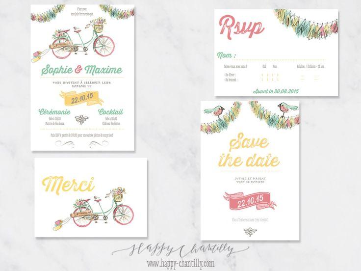 faire-part-mariage-velo-tandem-oiseaux-illustration-aquarelle-cartes-assorties-collection-mariage-illustratrice-happy-chantilly