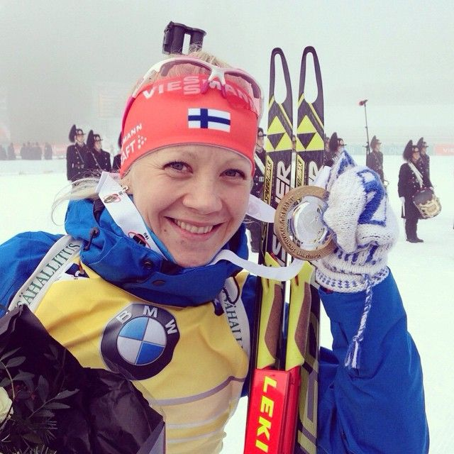 """Yeah! Finally a podium in legendary #Holmenkollen ⚪️⚪️⚪️⚪️⚪️ x4 that was fun! #gokaisa #biathlon #biathlonworldcup"""