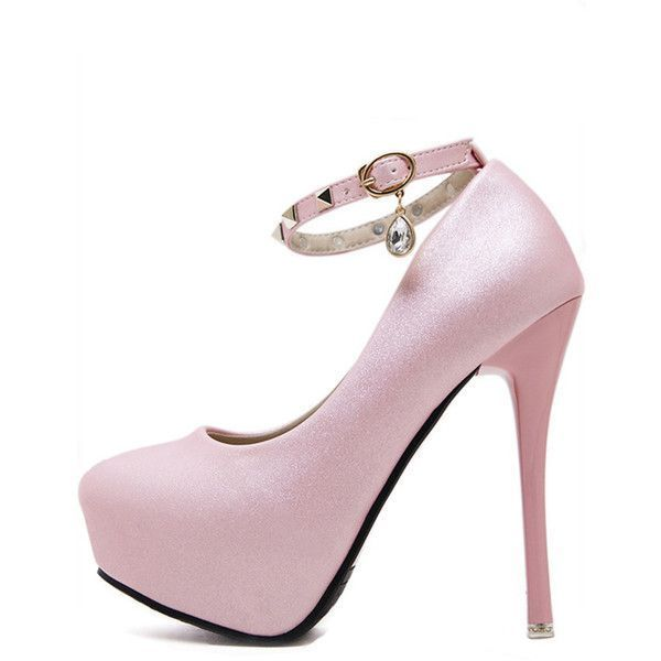 Pink Pu Studded Ankle Strap Platform Stiletto High Heels ($42) ❤ liked on Polyvore featuring shoes, pumps, pink stilettos, ankle strap platform pumps, mid-heel pumps, high heel stilettos and mid heel pumps #stilettoheelspumps #platformhighheelsanklestraps