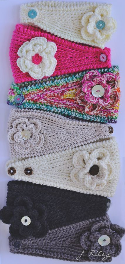 For some crochet ear warmer inspiration. No link.