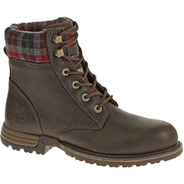 Caterpillar Kenzie ST Women's Brown Boot ($132) ❤ liked on Polyvore featuring shoes, boots, brown, brown work boots, steel toe boots, combat boots, brown boots and brown combat boots