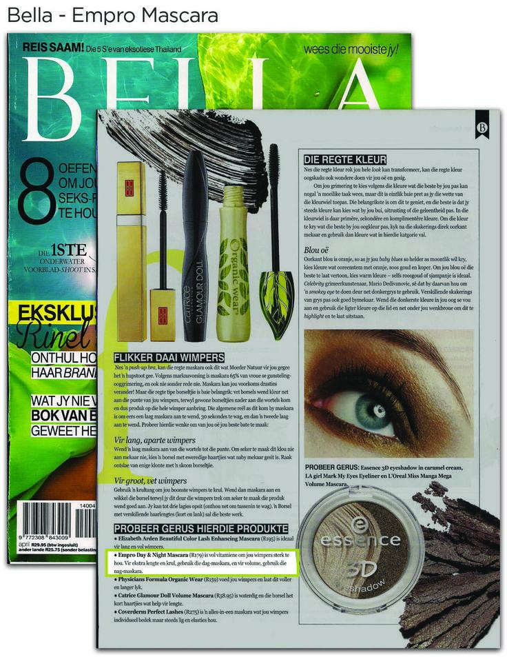 Perfect Empro Mascara exposure in Bella Magazine