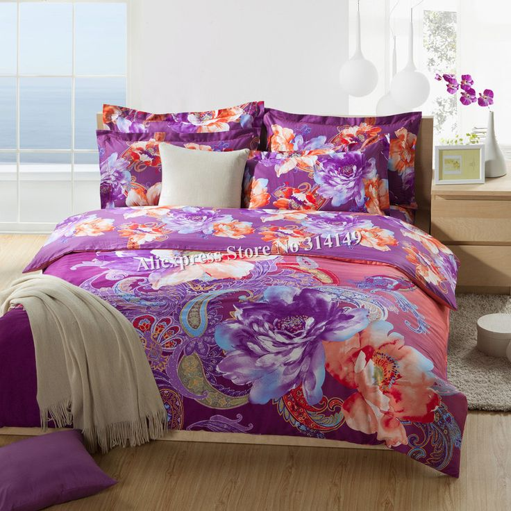 orange and purple bedroom new arrivals bedlinens4pcs king 100 cotton 16565