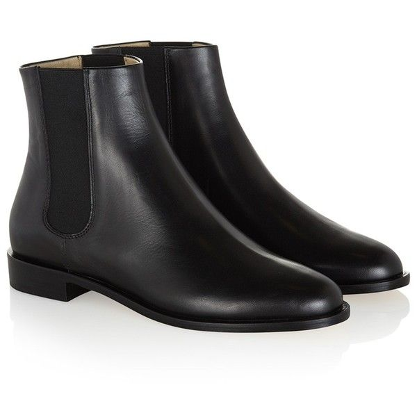 Hobbs Logan Leather Chelsea Ankle Boots (170 CAD) ❤ liked on Polyvore featuring shoes, boots, ankle booties, ankle boots, black, chelsea boots, black bootie boots, black flat booties and black leather ankle booties