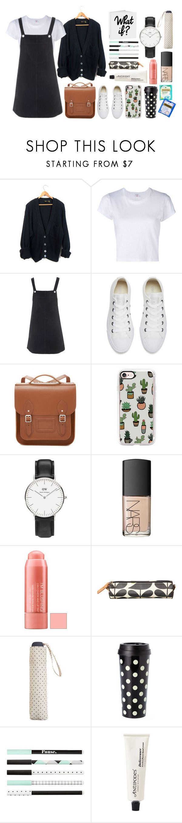 """October"" by cool7677m ❤ liked on Polyvore featuring RE/DONE, Topshop, Converse, The Cambridge Satchel Company, Casetify, Daniel Wellington, NARS Cosmetics, Orla Kiely, MANGO and Kate Spade"