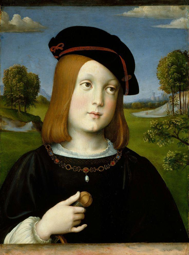 Ritratto di Federico II all'età di 10 anni. Fu commissionato da Isabella d'Este nel 1510 quando il figlio era ostaggio presso la corte papale.  MET.