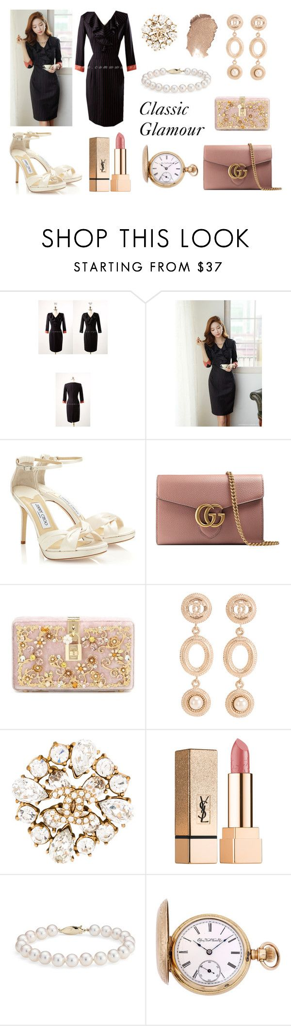Styleonme_Slim Fit Button Detail PantsPinstripe Ruffle V-Neck Fitted Dress by styleonme-kr on Polyvore featuring Dolce&Gabbana, Gucci, Elgin, Chanel, Blue Nile and Yves Saint Laurent