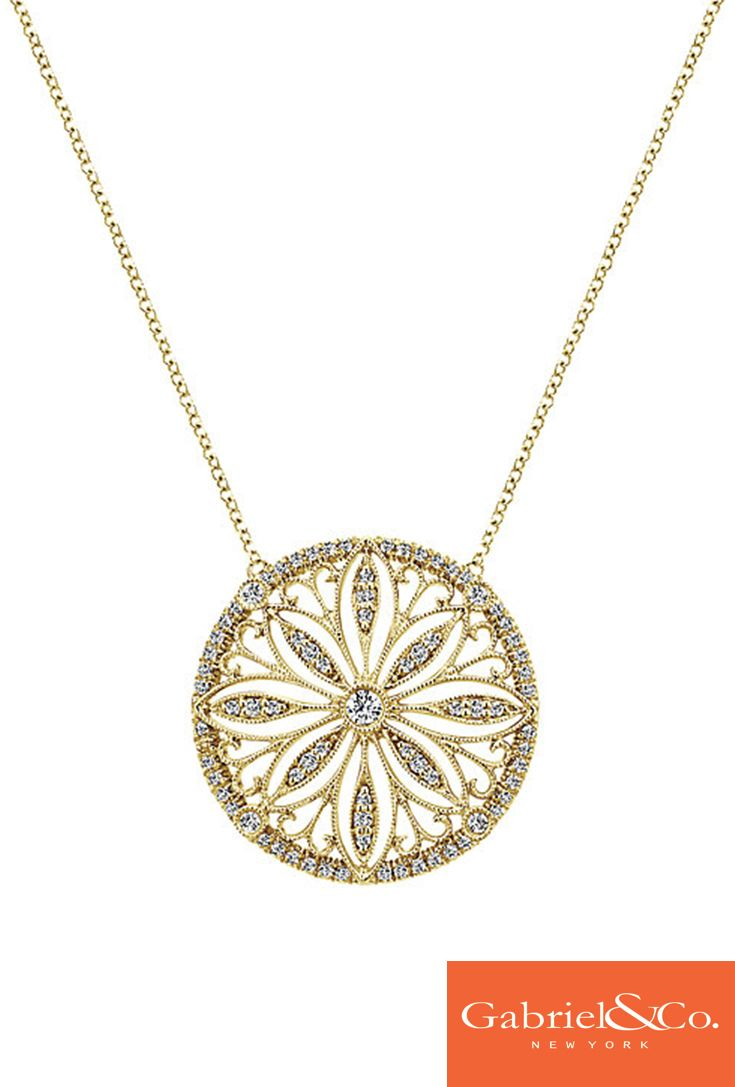 A gorgeous 14k Yellow Gold Diamond Necklace by Gabriel & Co. that every woman would love to have for this winter! This perfect piece has such a beautiful winter look along with all the little diamonds within it. We absolutely love the stunning center diamond stone also!