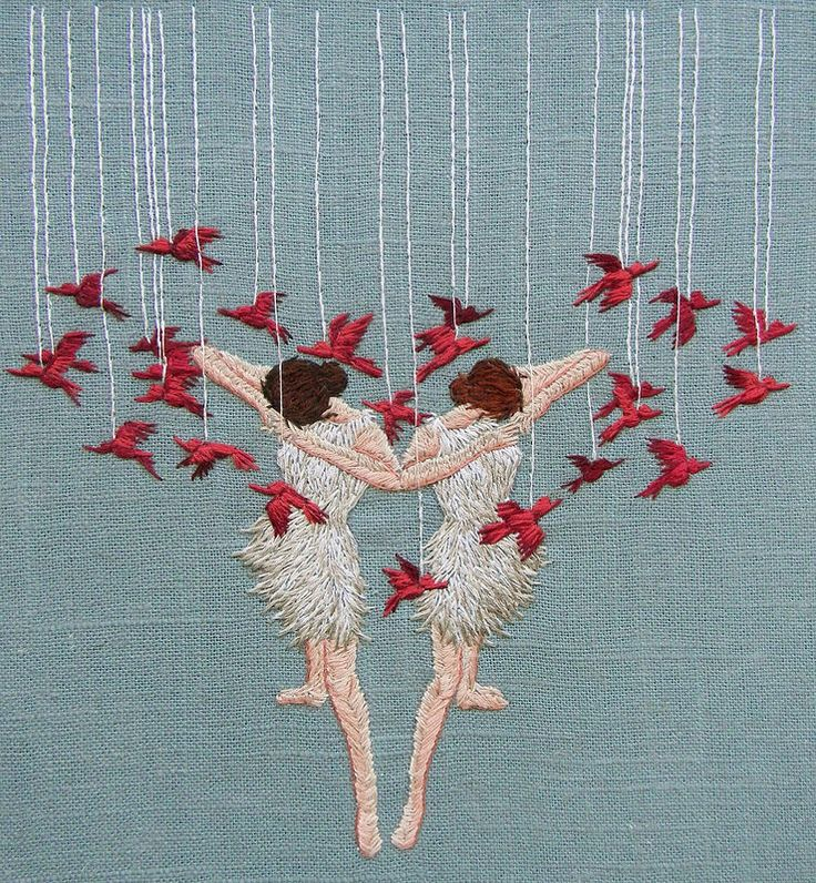 Michelle Kingdom, Life will divide us. Beautiful. The figures are so well 'drawn'.. Look at the legs... And yet it seems to be embroidery.. So skilled!