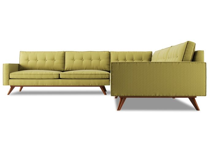 Don Draper's Couch!  The Tayler L Shaped Sofa from Thrive.  Made in LA with attention to MCM details.  Omega Pewter fabric suggested for high traffic.  $3,499
