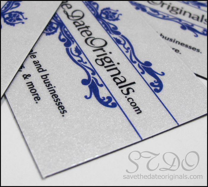 Another idea for business cards that stand out- fridge magnets made with metallic (shimmer) card stock.