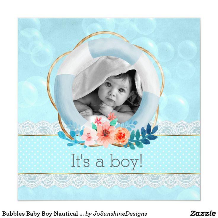 Bubbles Baby Boy Nautical Lifesaver Floral Dot Card