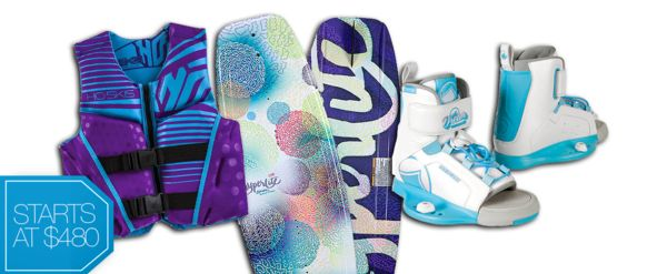 CANDY COATED (Kids Collection) - Drenched in sugary pastels  lollipop hues you'll be everyone's favorite behind the boat. 2014 Hyperlite Divine Kids Wakeboard , 2014 Liquid Force Kids Dream Wakeboard Boots, HO Youth Pursuit CGA Vest in Purple.  Girls wakeboarding, girls wakeboard, girls wakeboard bindings, girl wake, girls wake gear