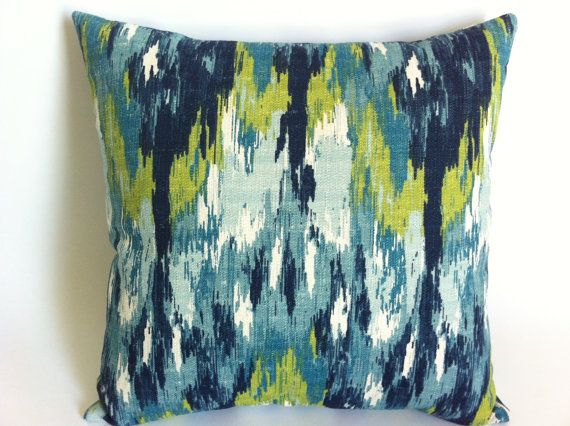 One Turquoise Ikat Mid Century Modern Decorative Throw Pillow Cover 7 sizes Aqua Blue Accent Pillow