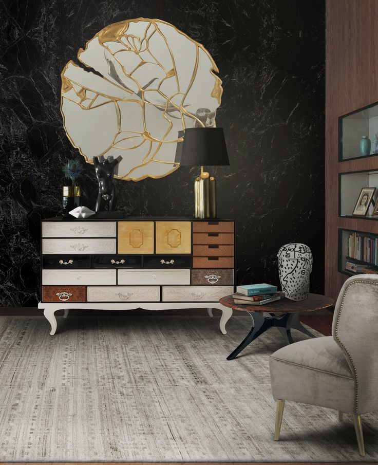 Luxury design is often connected with metallic shininess. Metals have this empowering visual that bring a whole new level to an interior design, so make sure to play with them.