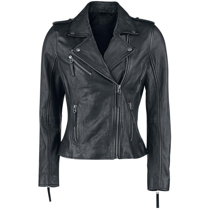 - biker style - lapel collar - zipper - zipper sleeve - zipper pockets - length: short - fit: waisted  With this Skull Leather Jacket of Black Premium by EMP, you'll get a classic black biker jacket with that special appeal. The piece features an embossed skull on the back and a fitted waist - a striking highlight for your outfit which will get you a lot of attention!