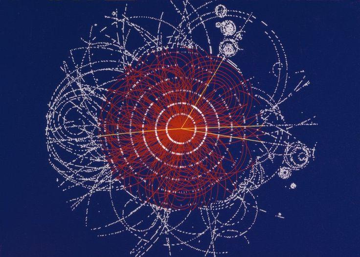 Simulation eines möglichen Zerfalls des Higgs-Bosons: Die Wahrscheinlichkeit,...