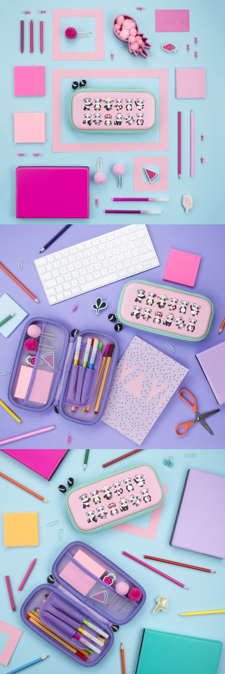Super cute panda design pencil case for girls. Unique embossed, hard top is ideal for compact backpacks/bags. Perfect for day to day stationery organising.