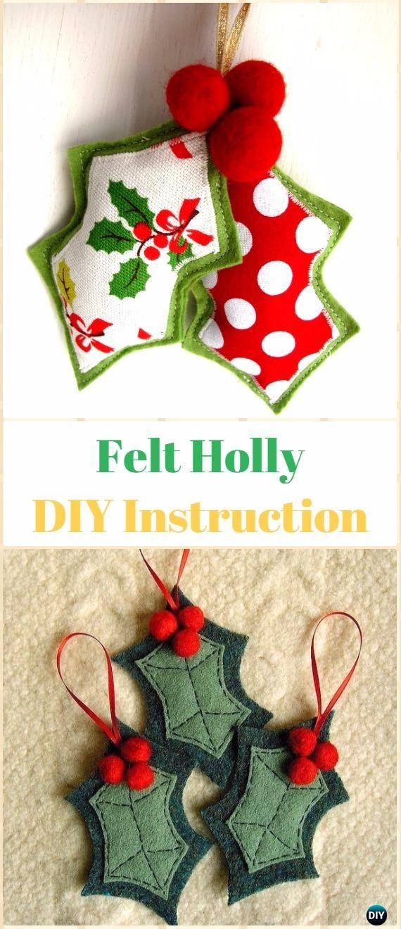 DIY Felt Holly Ornament Instructions - DIY Felt Christmas Ornament Craft Projects [Picture Instructions]