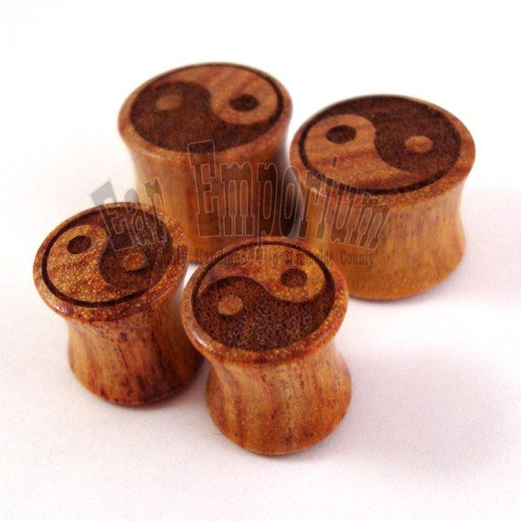 Yin Yang Canary Wooden Plugs  2g 6.5mm 0g 8mm 00g by EarEmporium, $33.00
