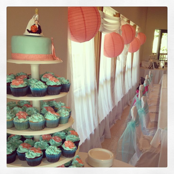 Teal & Coral Wedding. I Like The Bridal Party Chairs