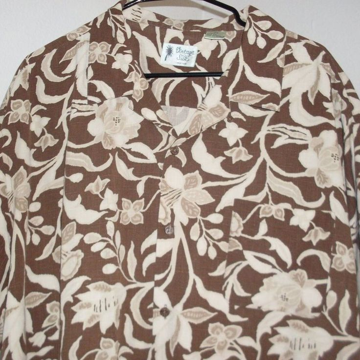 Vintage Silk Circa 1969 Hawaiian Aloha Shirt XL Brown White Silk Floral #VintageSilkCirca1969 #Hawaiian