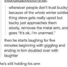bucky is worthy<<<<<Previous pinner. Has nothing to do with the pin itself, but I like this headcanon, and this comment.